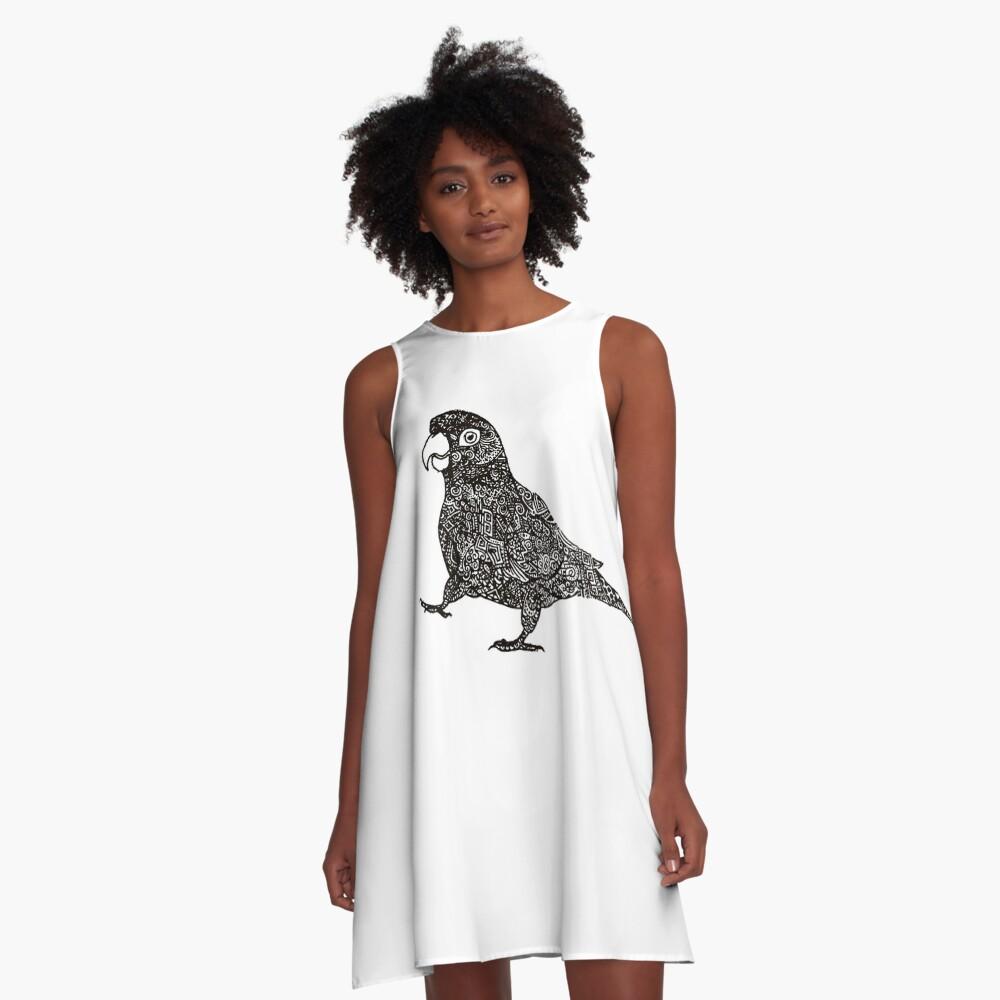 Komplex Papagei A-Linien Kleid