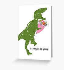 Derpy t-rex dinosaur flower bouquet Valentines Day Greeting Card