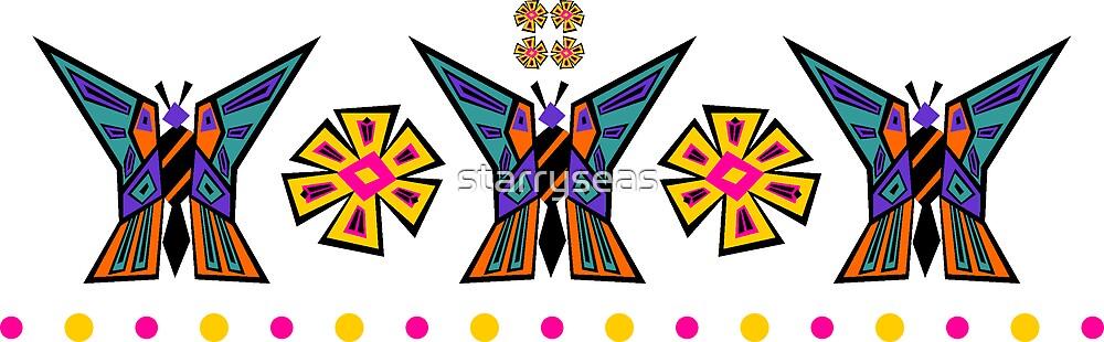 Butterfly Medallion Stripe by starryseas