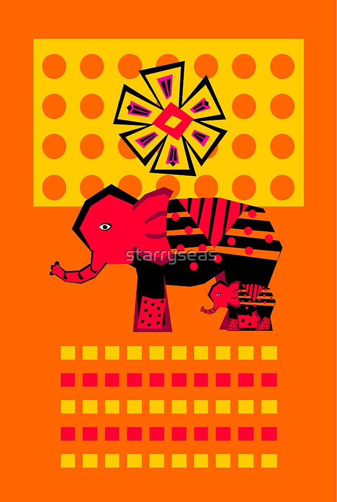 Elephant With Child by starryseas
