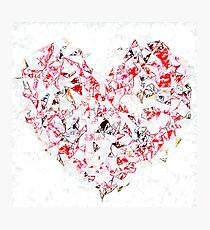 red heart shape abstract with white abstract background Photographic Print