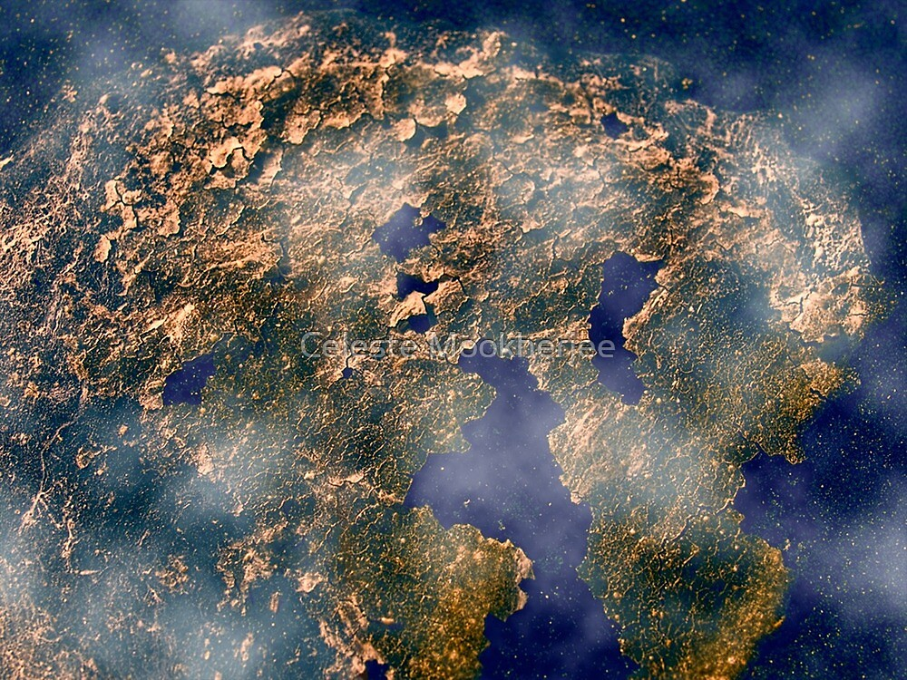 Abstract planet viewed from space by Celeste Mookherjee