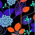 Foliage Indigo & Orange [iPhone / iPod Case and Print] by Didi Bingham