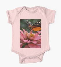 Butterfly on Zinnia Macro One Piece - Short Sleeve
