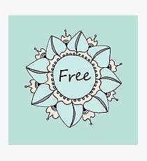 I Feel Free - Soft Light Blue Nouveau Bohemian Mandala Photographic Print