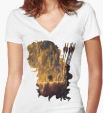 Merida and Her Arrows Silhouette Women's Fitted V-Neck T-Shirt
