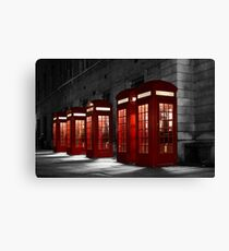 Red Phone Boxes on Black and White Canvas Print