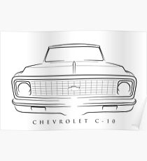 Chevy C-10 Pickup - front stencil, black Poster