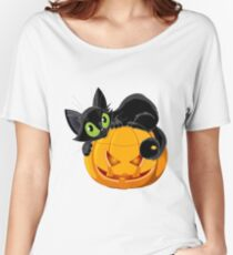 Black Cat on Pumpkin Jack o'lantern Women's Relaxed Fit T-Shirt
