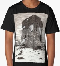 Spooky Haunted Castle Illustration Long T-Shirt