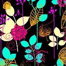 Foliage Orange & Aqua [iPhone / iPod Case and Print] by Didi Bingham