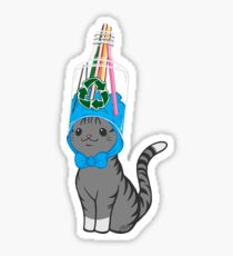 Grey Tabby Wears Recycled Plastic Hat Sticker