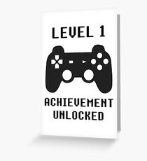 LEVEL 1 ACHIEVEMENT UNLOCKED Controller retro video games 1st birthday Greeting Card
