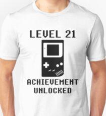 LEVEL 21 ACHIEVEMENT UNLOCKED Console retro video games 21st birthday T-Shirt