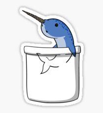 Cute Narwhal Fish Pocket Funny Ocean Animal Cartoon Sticker