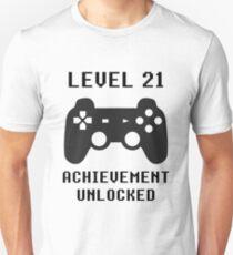 LEVEL 21 ACHIEVEMENT UNLOCKED Controller retro video games 21st birthday Unisex T-Shirt