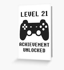 LEVEL 21 ACHIEVEMENT UNLOCKED Controller retro video games 21st birthday Greeting Card