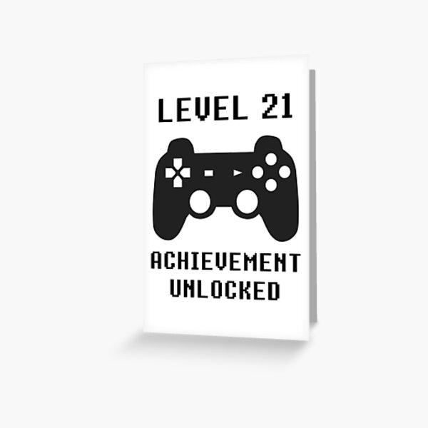 LEVEL 21 ACHIEVEMENT UNLOCKED Controller retro video games 21st birthday Greeting Card