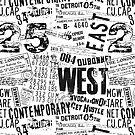 Grunge Distressed black white text urban typo design by artsandsoul
