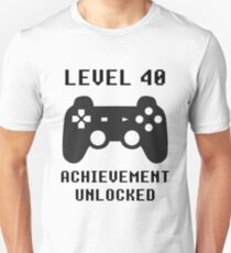 LEVEL 40 ACHIEVEMENT UNLOCKED Controller retro video games 40th birthday T-Shirt