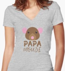 Papa mouse (with matching mama mouse and baby mouse) Women's Fitted V-Neck T-Shirt
