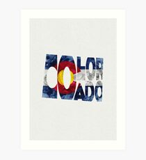 Colorado Typographic Map Flag Art Print