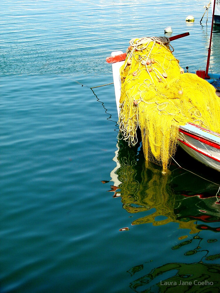 Yellow net in a boat at Heraklio harbour - Crete by Laura Jane Coelho