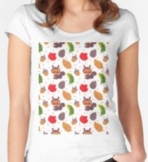 Brown red Autumn floral happiness squirrel polka dots Women's Fitted Scoop T-Shirt