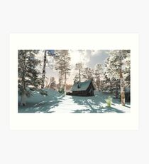 Northern Winter Cottage in Snow Art Print