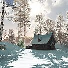 Northern Winter Cottage in Snow by algoldesigns