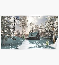 Northern Winter Cottage in Snow Poster