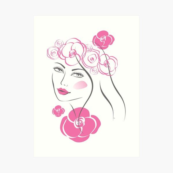 Pretty flower girl portrait Art Print