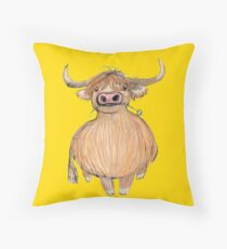 Daisy the Highland Cow Throw Pillow