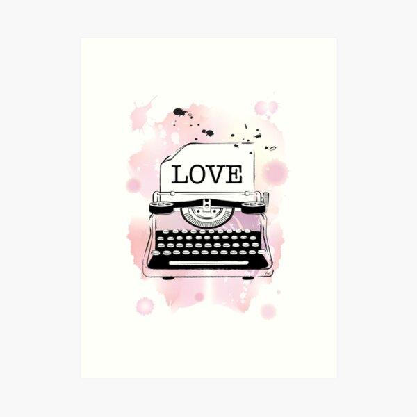Pink Love Watercolour typewriter Art Print