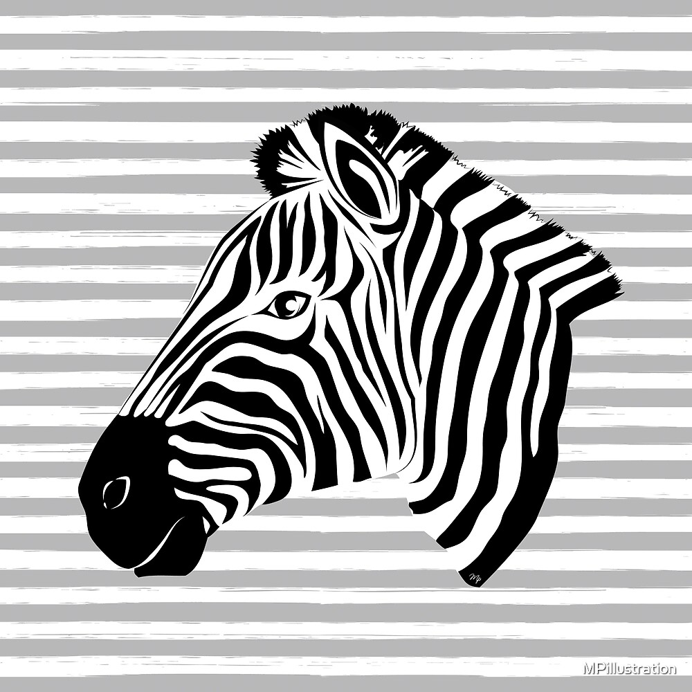 Black and white cute zebra by MPillustration