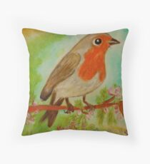 Krafttier Rotkehlchen Throw Pillow