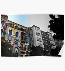 colorful against black and white - Berlin Friedrichshain Poster