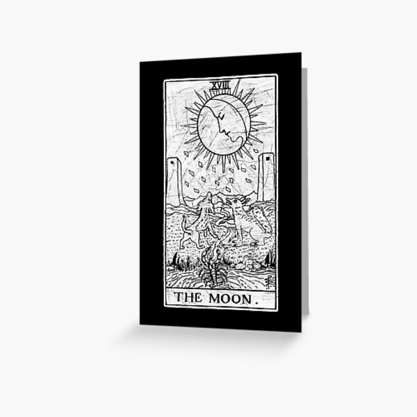 The Moon Tarot Card - Major Arcana - fortune telling - occult Greeting Card