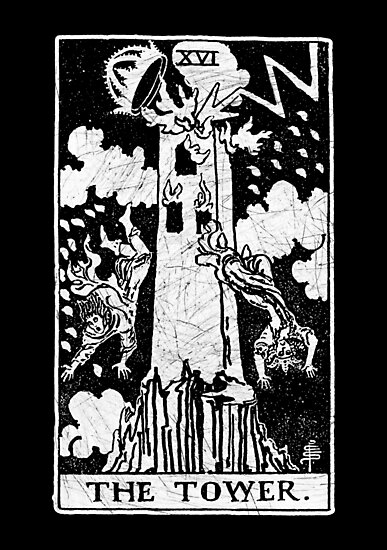 'The Tower Tarot Card - Major Arcana - fortune telling - occult'  Photographic Print by createdezign