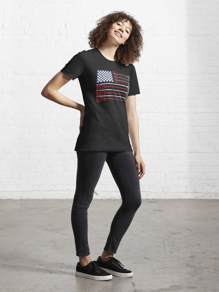 Alternate view of Vintage Flag > US Flag Made of Lacrosse Balls + Bats > Laxing Essential T-Shirt