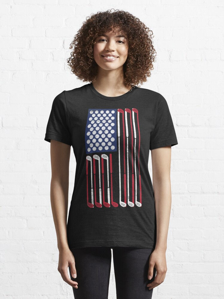 Alternate view of Vintage Flag > US Flag Made of Golf Balls + Clubs > Cool Golf Essential T-Shirt