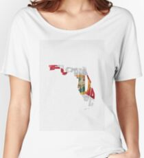 Florida Typographic Map Flag Women's Relaxed Fit T-Shirt