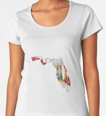 Florida Typographic Map Flag Women's Premium T-Shirt