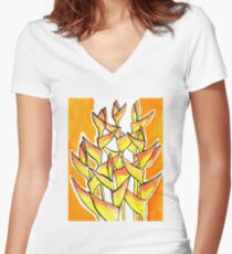 Heliconia Rostrata / Lobster Claw, yellow, orange  & white Women's Fitted V-Neck T-Shirt