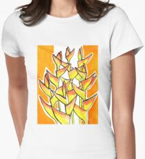 Heliconia Rostrata / Lobster Claw, yellow, orange  & white Women's Fitted T-Shirt
