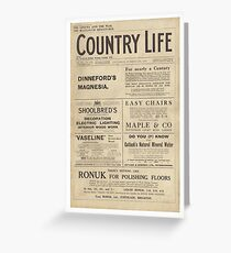 Country Life Front Cover Sat 28th Oct 1916 Greeting Card