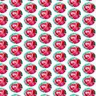 Cute Red Rose Sea green background by Mubasher Kaleem