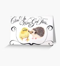 Watercolour Chick and Hedgehog Friendship  Greeting Card