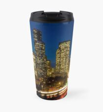 Downtown Seattle at Night Travel Mug