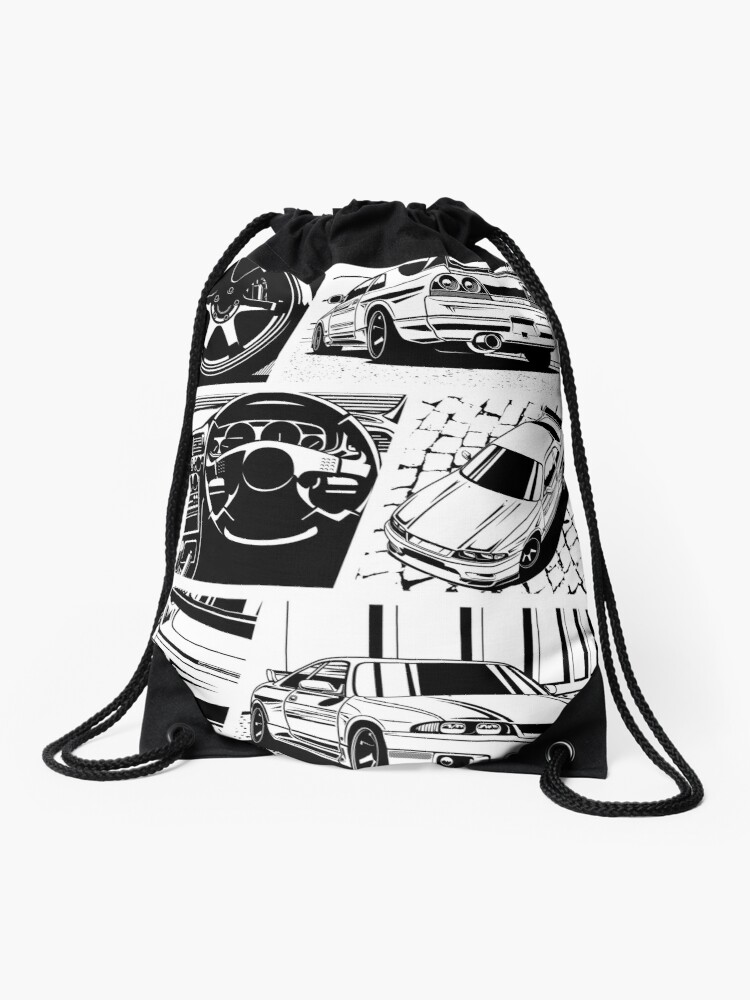 Skyline R33 Gtr Details Transparent Background Drawstring Bag By